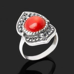 Кольцо коралл красный Индонезия (серебро 925 пр. оксидир.) размер 18