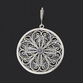 Кулон лабрадор Мадагаскар (серебро 925 пр. оксидир.) круг
