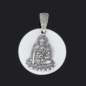 Кулон перламутр белый Индонезия Будда (серебро 925 пр. оксидир.)