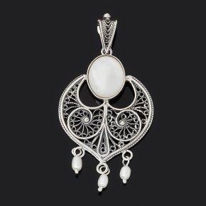 Кулон перламутр белый Индонезия (серебро 925 пр. оксидир.)