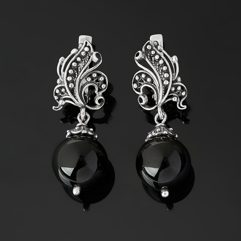 Серьги агат черный (серебро 925 пр. оксидир.)