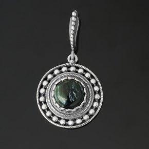 Кулон клинохлор (серафинит) Россия (серебро 925 пр. оксидир.) круг