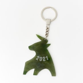 Брелок нефрит зеленый Россия (биж. сплав) 8 см