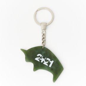 Брелок нефрит зеленый Россия (биж. сплав) 7 см
