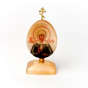 Изображение селенит Россия Святая Матрона с молитвой 9 см