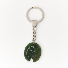 Брелок нефрит зеленый Россия (биж. сплав) 3 см