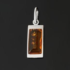Кулон янтарь пресс Россия (серебро 925 пр. родир. бел.) прямоугольник