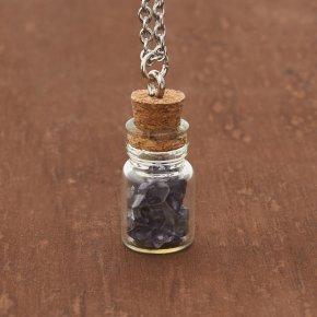 Кулон иолит (кордиерит) Бразилия (биж. сплав, сталь хир., стекло) бутылочка 2,5 см