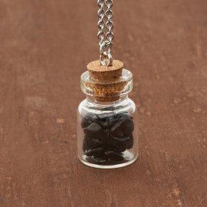 Кулон турмалин черный (шерл) Бразилия (биж. сплав, сталь хир., стекло) бутылочка 3 см