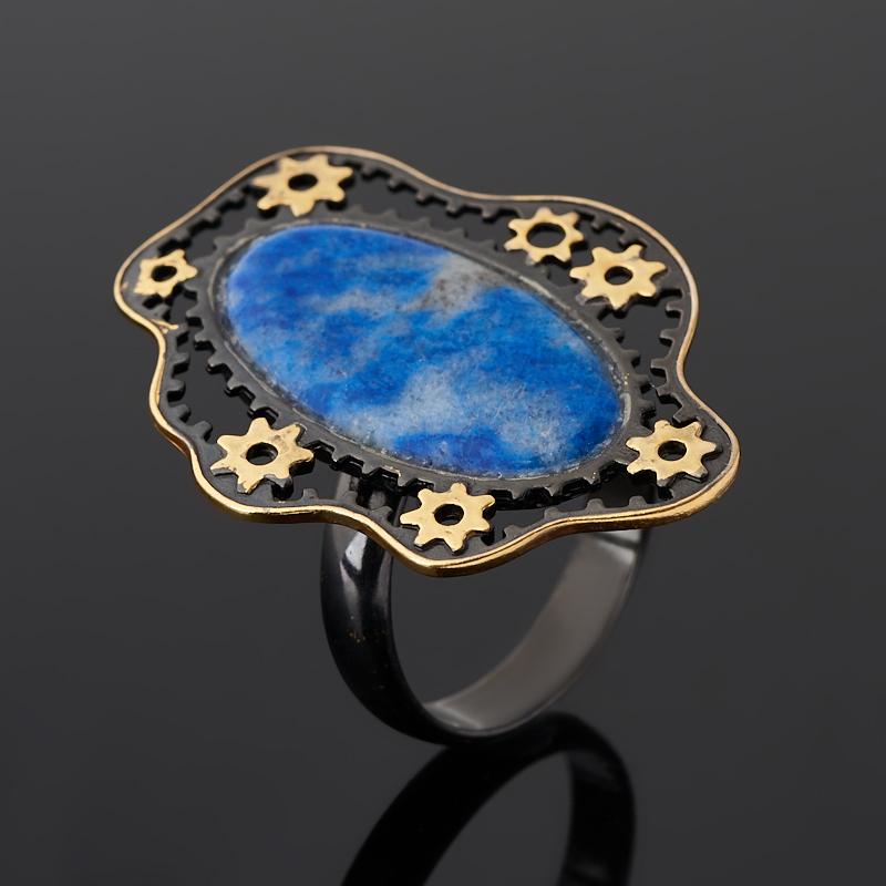Кольцо лазурит (серебро 925 пр. позолота, родир. черн.) (регулируемый) размер 18