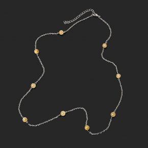 Бусы цитрин Бразилия (биж. сплав, сталь хир.) (цепочка) длинные 8 мм 73 см (+7 см)