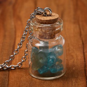 Кулон апатит синий Бразилия (биж. сплав, сталь хир., стекло) бутылочка 3 см