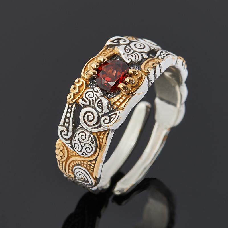 Кольцо гранат альмандин (серебро 925 пр. оксидир., позолота) огранка (регулируемый) размер 18