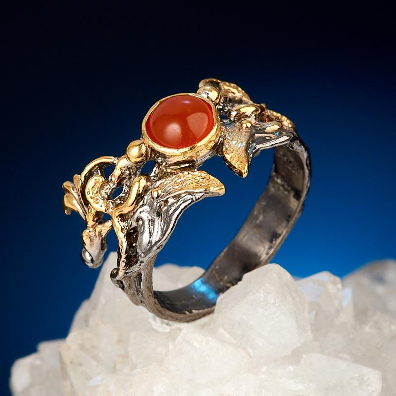 Кольцо сердолик (серебро 925 пр. позолота, родир. черн.) размер 18
