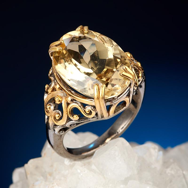 Кольцо цитрин (серебро 925 пр. позолота, родир. черн.) огранка размер 18