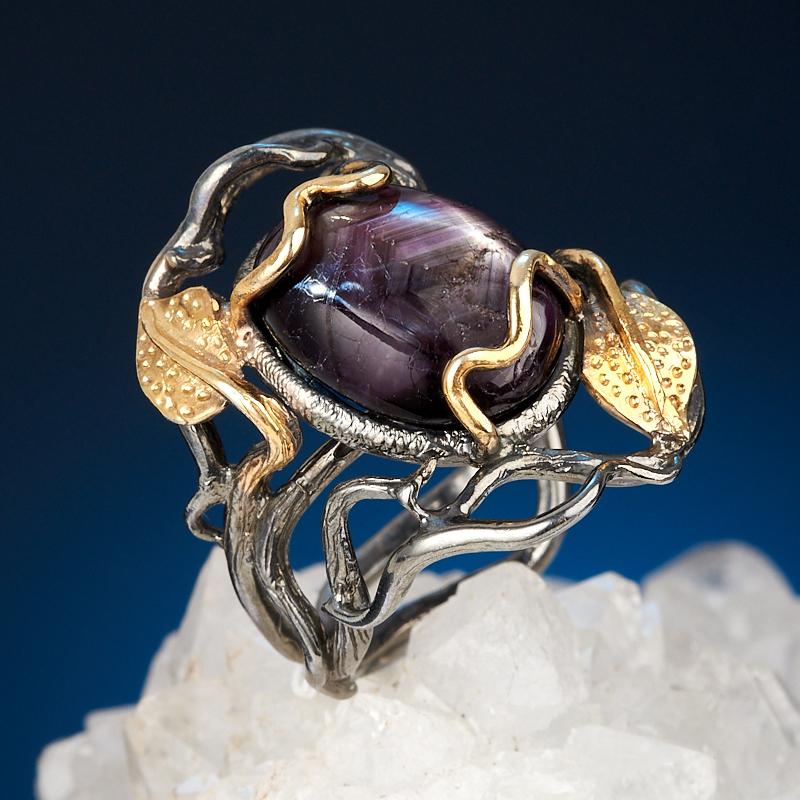 Кольцо звездчатый корунд Нигерия (серебро 925 пр. позолота, родир. черн.) размер 18,5