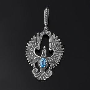 Кулон топаз голубой Бразилия (серебро 925 пр. оксидир.) огранка