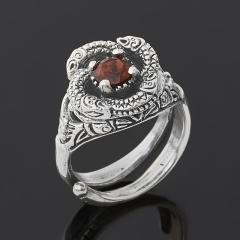 Кольцо гранат альмандин Индия огранка (серебро 925 пр. оксидир.) размер 17,5 (регулируемый)