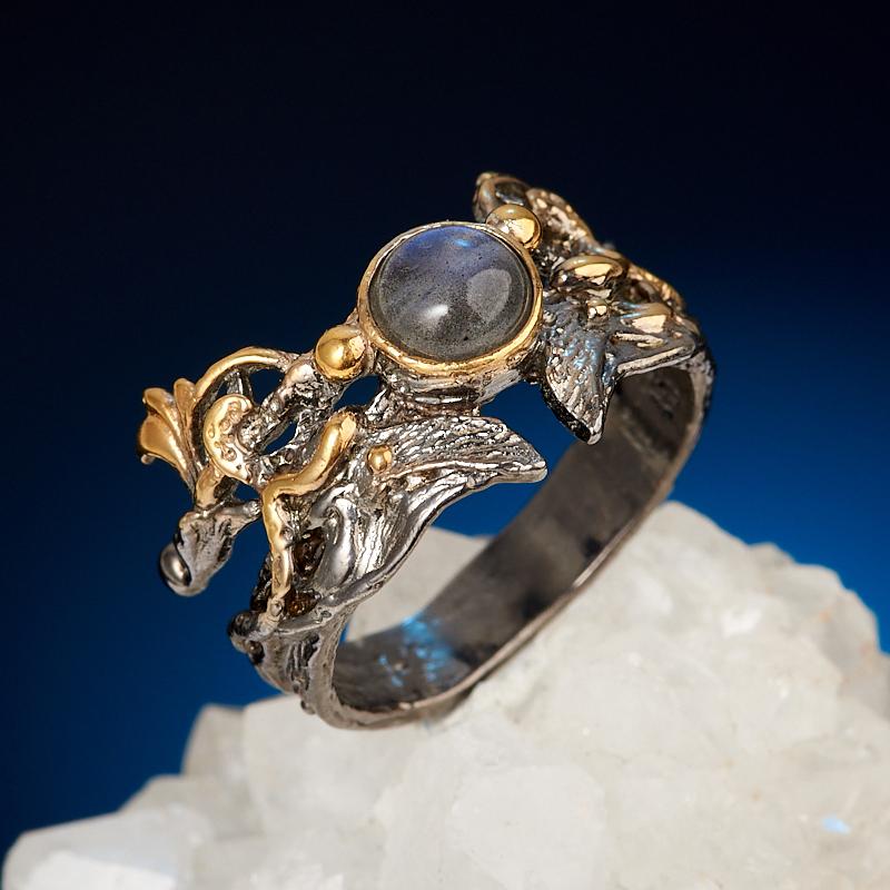Фото - Кольцо лабрадор (серебро 925 пр. позолота, родир. сер.) размер 18 кольцо лабрадор серебро 925 пр родир черн позолота размер 18