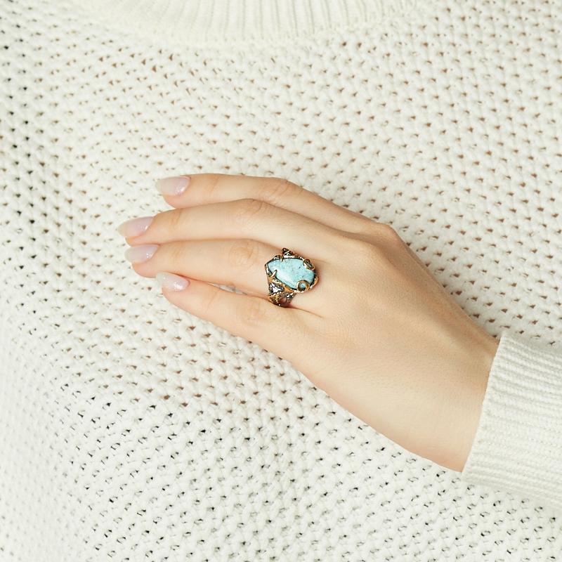 Кольцо бирюза Узбекистан (серебро 925 пр. позолота, родир. черн) размер 18