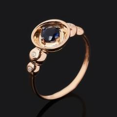 Кольцо иолит (кордиерит) Индия (серебро 925 пр. позолота, родир. черн.) огранка размер 17,5