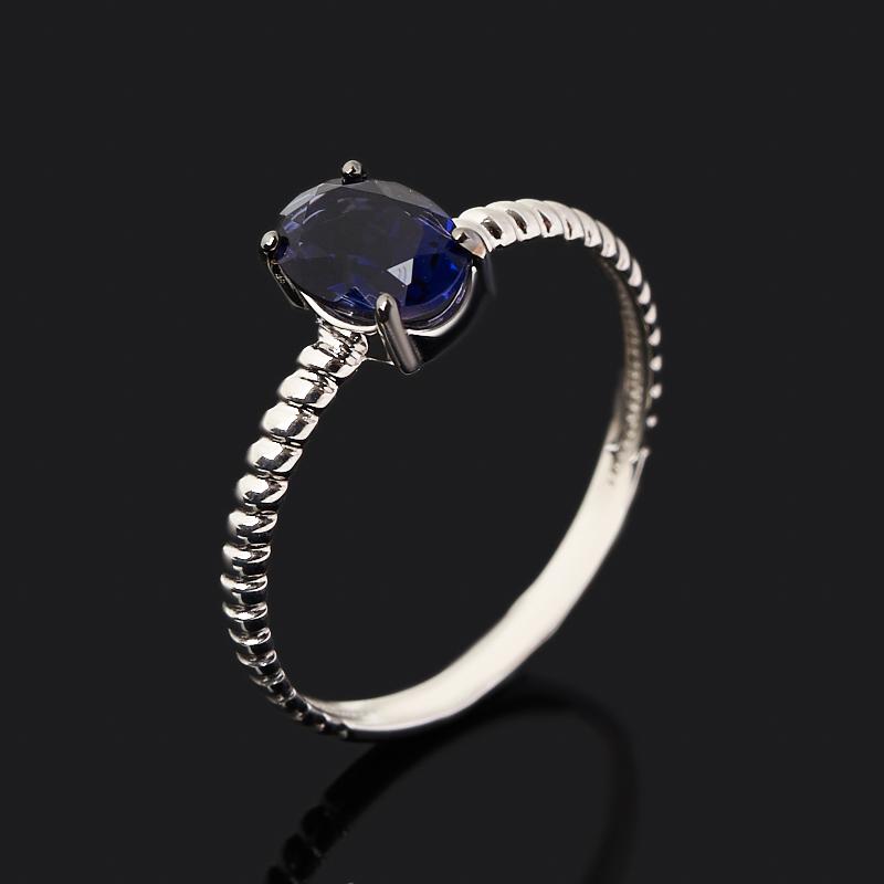 Кольцо иолит (кордиерит)  (серебро 925 пр. родир. бел., родир. черн.) огранка размер 18