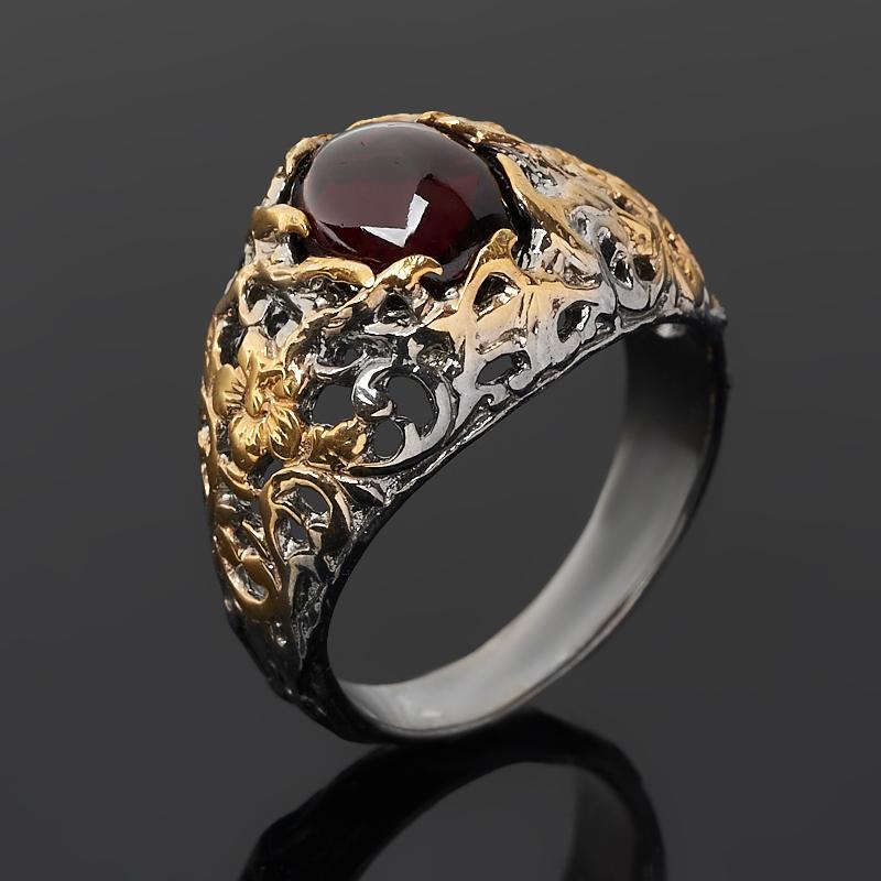 Кольцо гранат альмандин (серебро 925 пр. позолота, родир. черн.) размер 18