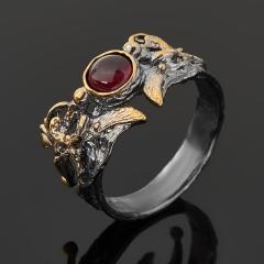 Кольцо гранат родолит Танзания (серебро 925 пр. позолота, родир. сер.) размер 18,5