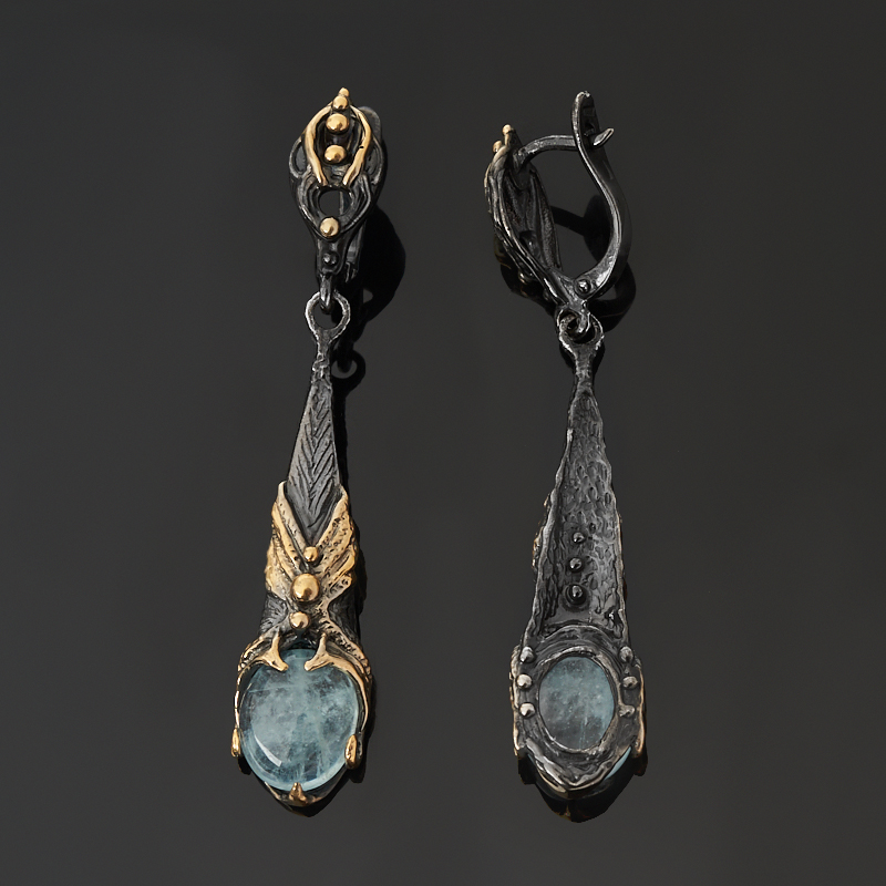 Серьги аквамарин Нигерия (серебро 925 пр. позолота, родир. черн.)