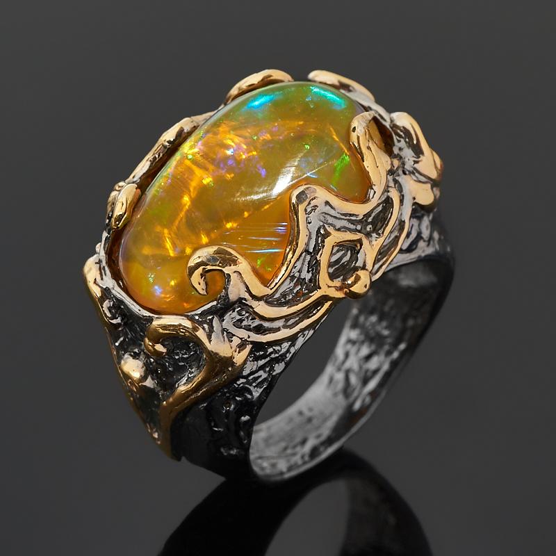 Кольцо опал благородный желтый (серебро 925 пр. позолота, родир. черн.) размер 18