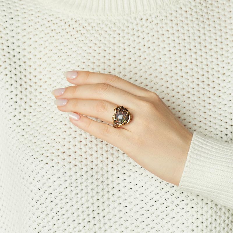 Кольцо опал благородный черный Австралия (серебро 925 пр. позолота, родир. черн.) размер 18