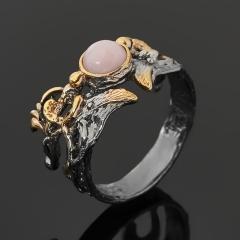 Кольцо опал розовый Перу (серебро 925 пр. позолота, родир. сер.) размер 18