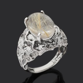 Кольцо рутиловый кварц Бразилия (серебро 925 пр. оксидир.) размер 17,5