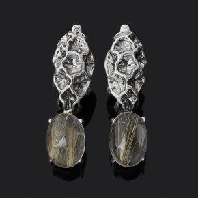 Серьги рутиловый кварц Бразилия (серебро 925 пр. оксидир.)