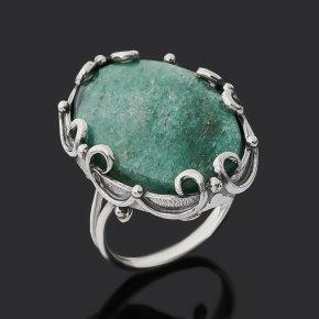 Кольцо авантюрин зеленый Россия (серебро 925 пр. оксидир.) размер 18,5