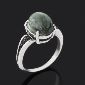 Кольцо клинохлор (серафинит) Россия (серебро 925 пр. оксидир.) размер 18,5