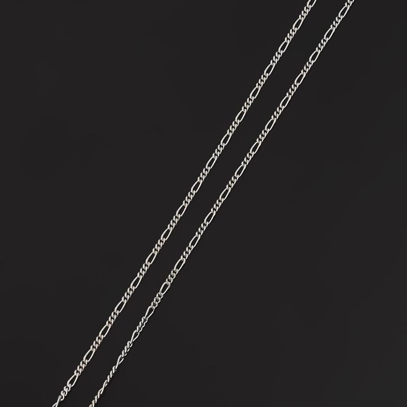 Цепь полновесная фигаро 45 см (серебро 925 пр. родир. бел.) Россия