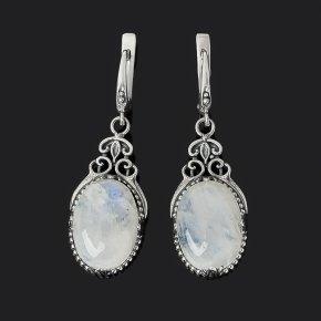 Серьги лунный камень (адуляр) Индия (серебро 925 пр. оксидир.)