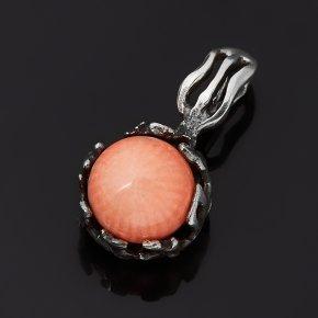 Кулон коралл розовый Индонезия (серебро 925 пр. оксидир.)