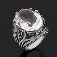 Кольцо горный хрусталь Бразилия (серебро 925 пр. родир. бел.) огранка размер 18
