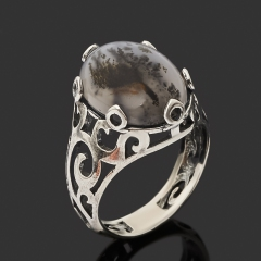 Кольцо агат моховой Индия (серебро 925 пр. оксидир.) размер 17,5
