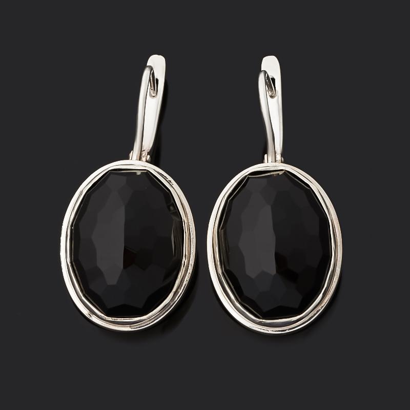Серьги агат черный (серебро 925 пр.) огранка