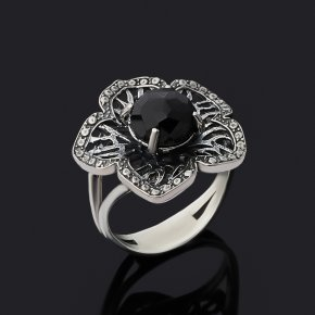 Кольцо шпинель Шри Ланка черная огранка (серебро 925 пр. оксидир.) размер 17