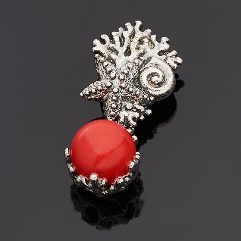 Кулон коралл красный (серебро 925 пр. оксидир.)