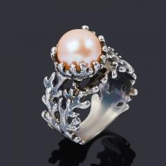 Кольцо жемчуг персиковый Гонконг (серебро 925 пр. оксидир.) размер 17,5