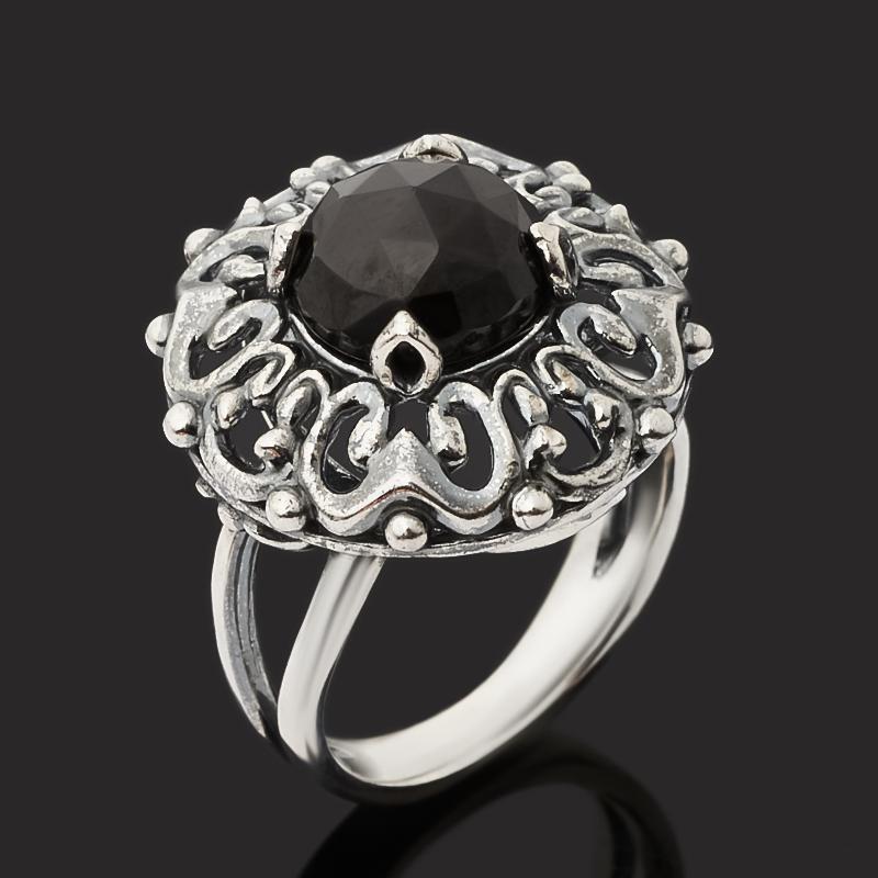 Кольцо агат черный Бразилия (серебро 925 пр. оксидир.) огранка размер 18