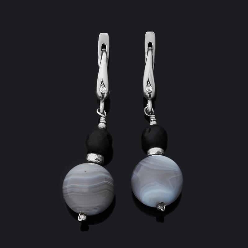 Серьги агат серый, черный (серебро 925 пр.)