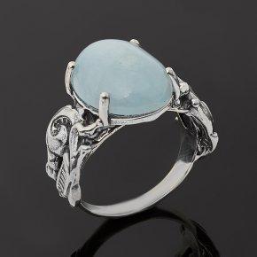 Кольцо аквамарин Бразилия (серебро 925 пр. оксидир.) размер 18