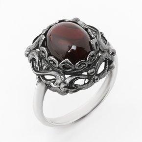 Кольцо гранат альмандин Индия (серебро 925 пр. родир. черн.) размер 18,5