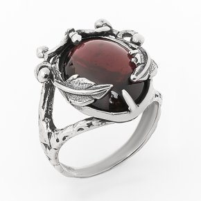 Кольцо гранат альмандин Индия (серебро 925 пр. оксидир.) размер 18,5